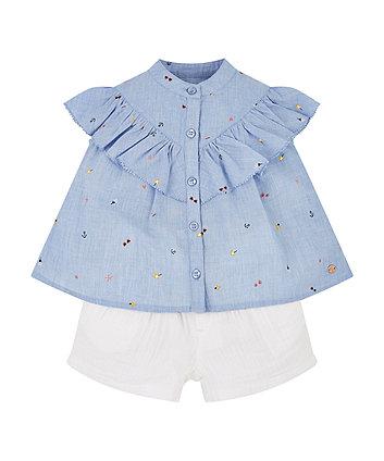 chambray blouse and shorts set