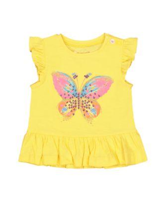 yellow glitter butterfly frill t-shirt