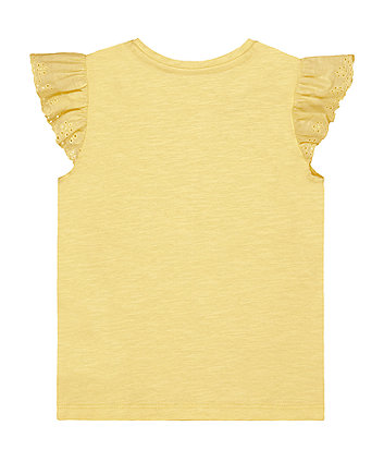 yellow broderie vest