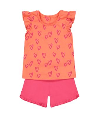 heart vest and shorts set
