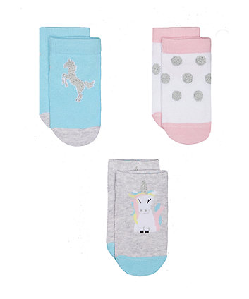 unicorn trainer socks - 3 pack