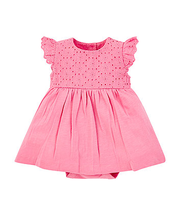 pink broderie romper dress