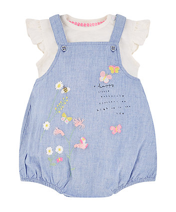 chambray embroidered bibshorts and bodysuit set