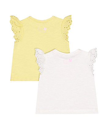 butterfly and yellow frill t-shirts - 2 pack