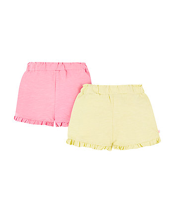 pink and yellow frill shorts – 2 pack
