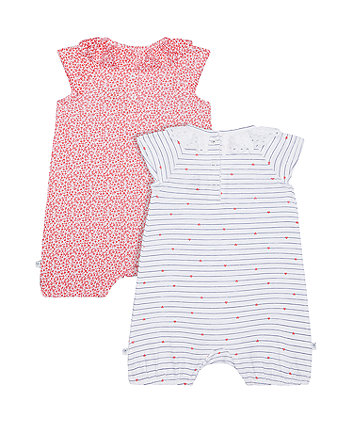 stripe and floral frill rompers - 2 pack