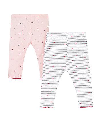 pink seaside and stripe leggings – 2 pack
