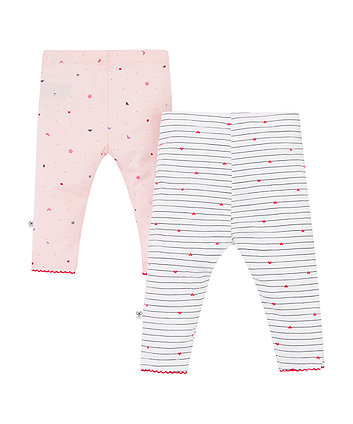 pink seaside and stripe leggings – 2 pack