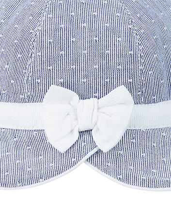 blue bow woven stripe sun hat