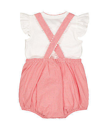red gingham bibshorts and white bodysuit set