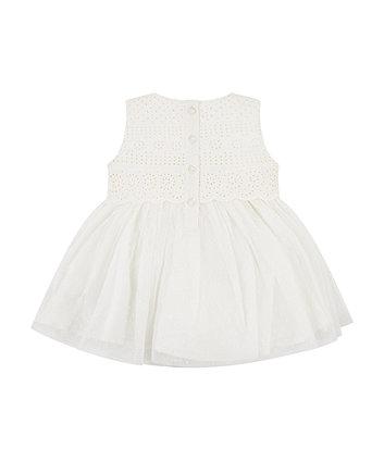 white dobby mesh dress