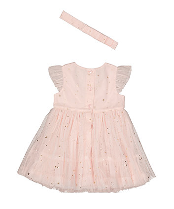 pink foil star mesh dress and headband set