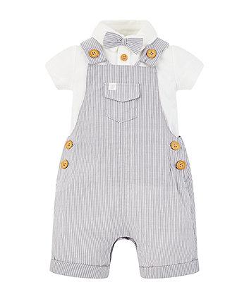 grey stripe bibshorts and bow bodysuit set