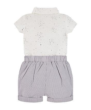 white polo bodysuit and stripe shorts set
