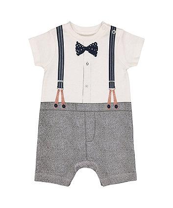 trompe l'oeil bow tie and suspenders romper
