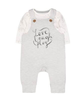 love laugh play dungarees and bodysuit set