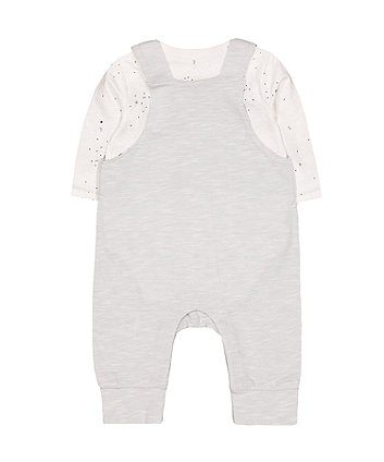 grey love laugh play dungarees and bodysuit set