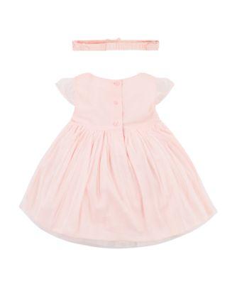 pink 3d flower mesh dress and headband set