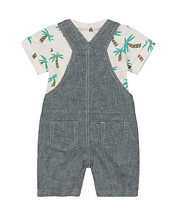 grey linen bibshorts and palm tree t-shirt set