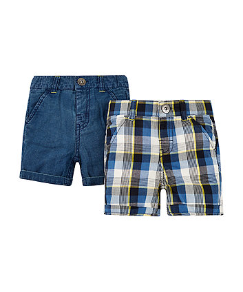check and denim shorts - 2 pack