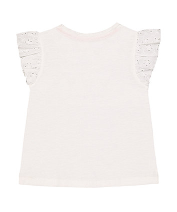 white broderie frill ice cream t-shirt