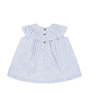 blue floral frill blouse