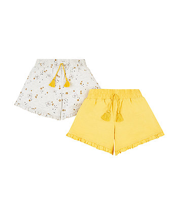 grey butterfly and mustard shorts – 2 pack