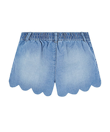 denim scalloped shorts