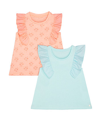 blue and coral t-shirts - 2 pack