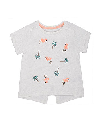 grey flamingo and palm tree t-shirt