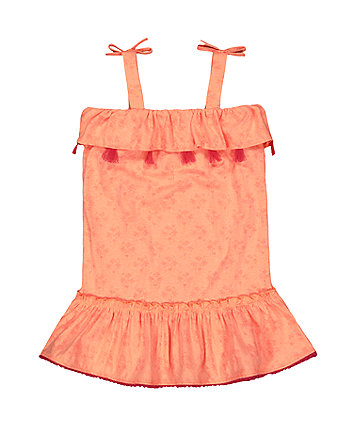 palm tree and flamingo coral tassel dress
