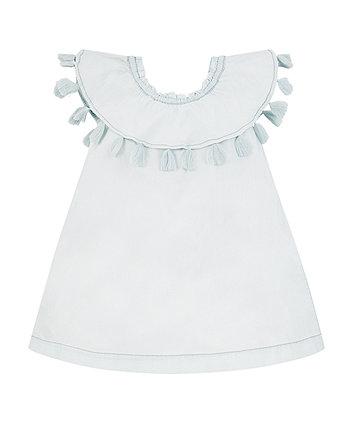 bleach-wash denim bardot dress