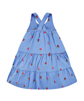blue strawberry tiered dress