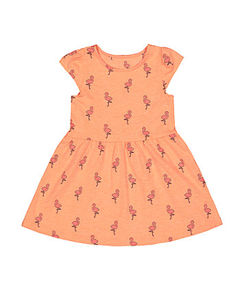 neon flamingo waisted dress