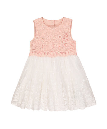 pink and white broderie lace occasion dress