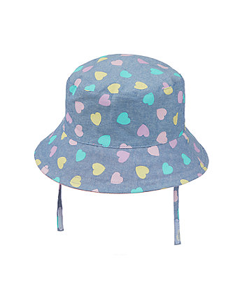 blue chambray heart fisherman sun hat