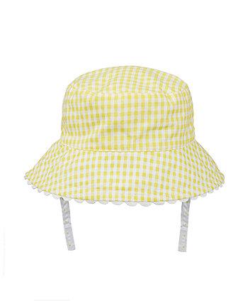 white and yellow gingham fisherman sun hat