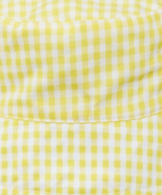 white and yellow gingham fisherman sun hat