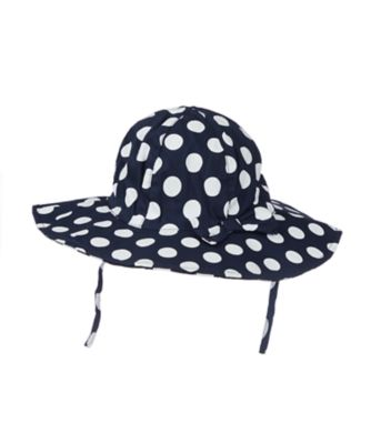 navy spot floppy brim sun hat