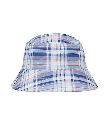 blue and orange check print fisherman sun hat