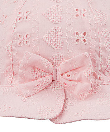 pink broderie bow sun hat