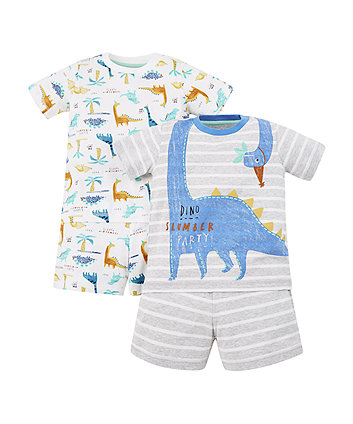 dinosaur slumber party shortie pyjamas – 2 pack