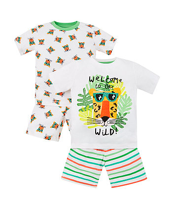 jungle tiger shortie pyjamas - 2 pack