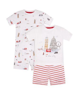 london landmarks shortie pyjamas - 2 pack