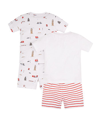 london landmarks shortie pyjamas - 2 pack