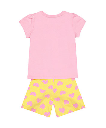 pink and yellow giraffe pyjamas