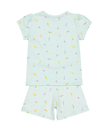 ice cream green shortie pyjamas