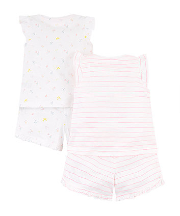 neon pretty girl and flower shortie pyjamas – 2 pack