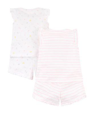 neon pretty girl and flower shortie pyjamas – 2 pack