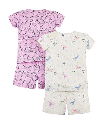 unicorn shortie pyjamas – 2 pack